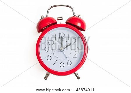 Red Retro And Vintage Style Bell Alarm Clock Isolated On White B