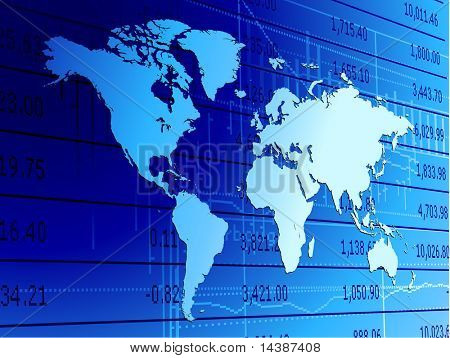 Original Vector Illustration: stock data and world map