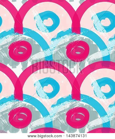 Rough Brush Pink And Blue Arcs And Circles
