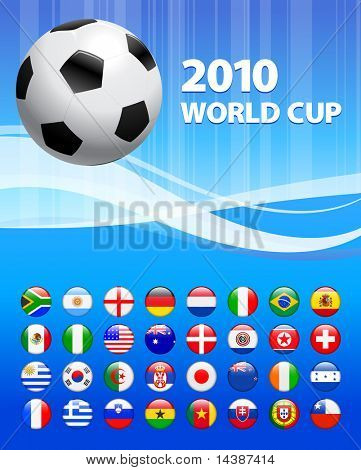 2010 Soccer with Flag Buttons Original Vector Illustration
