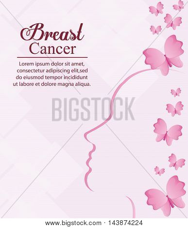 butterfly female head breart cancer awareness campaign foundation icon. Pink design. Vector illustration