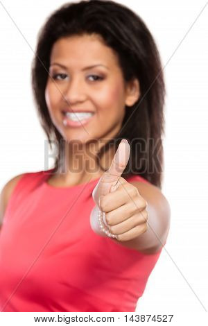 Mixed Race Woman Giving Thumb Up Gesture.