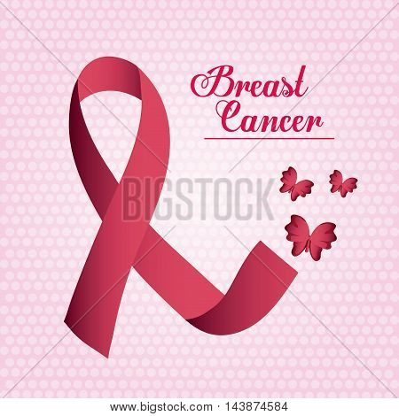 ribbon butterfly breart cancer awareness campaign foundation icon. Pink design. Vector illustration