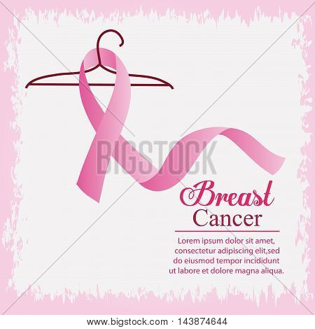 ribbon hook breart cancer awareness campaign foundation icon. Pink design. Vector illustration