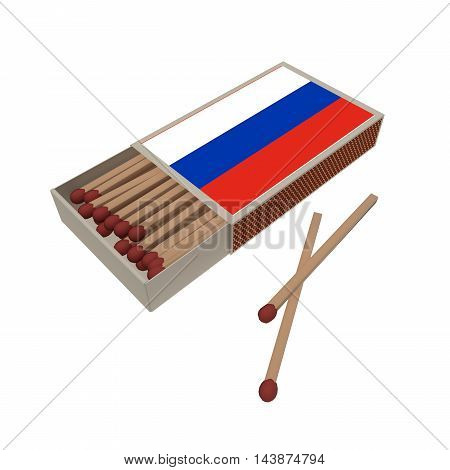 Russia Flag Matchbox With Matches Isolated On A White Background 3d illustration
