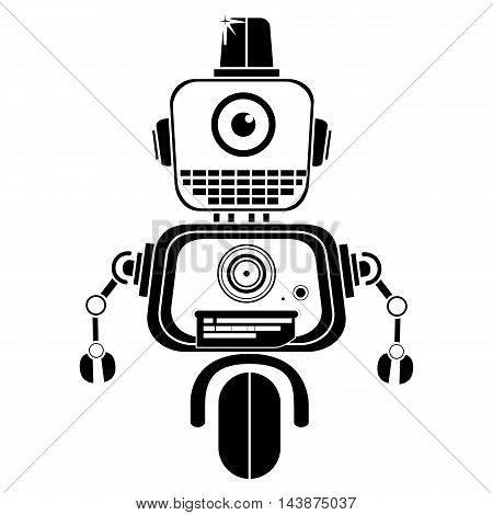 Vector black and white illustration of cute vintage robot, Silhouette icon of toy.