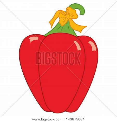 Vector red pepper, paprika with orange bow