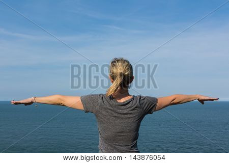 Woman Posing Ocean Water Horizon Yoga Raised Arms
