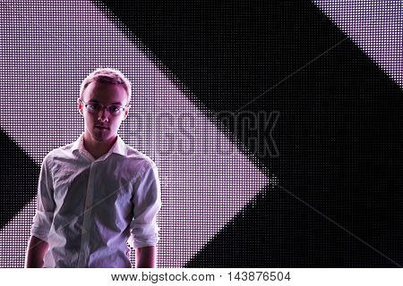 Young Man Portrait on White Black Contrast Arrow LED Background