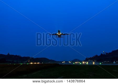Passenger Airplane Take Off At Night