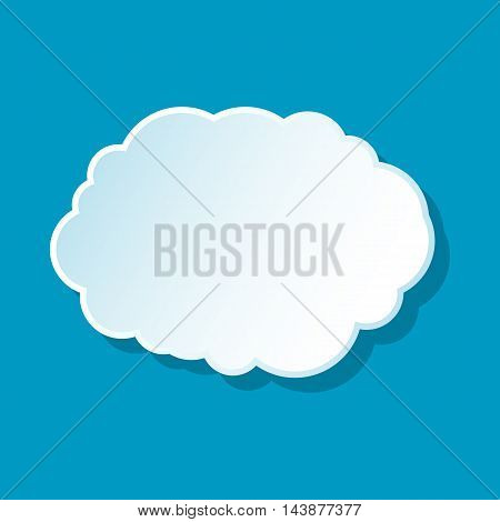 Cloud icon on blue background. Weather symbol