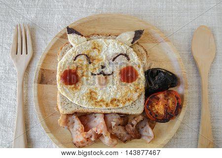 Gold coast Australia 7 August 2016 Editorial image Pokemon inspired homemade breakfast for kids
