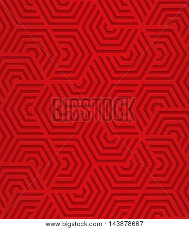 Red Overlapping Striped Hexagons