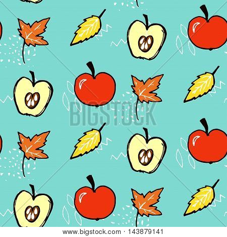 Autumn seamless pattern. Vector background with red apples and maple leaves. Fall blue texture with hand drawn illustrations