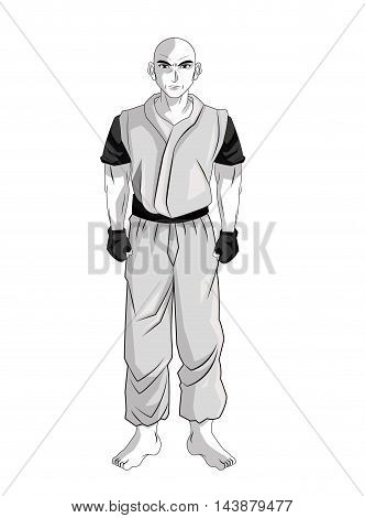 man boy young anime manga comic cartoon fight icon. Black white grey and isolated design. Vector illustration
