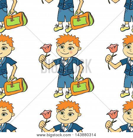 Seamless Pattern With A Student Of The First Class Boy. Vector Illustration