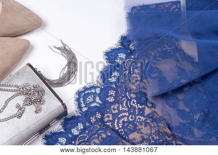 Woman Clothes And Accessories. Soft Blue Colors Female Apparel.