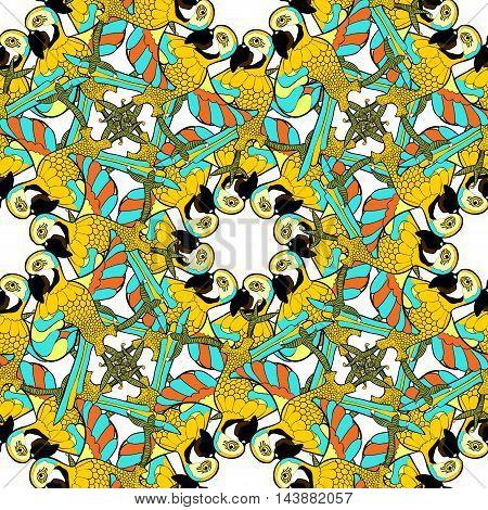Seamless Pattern With Gold Circles Dancing Fun Caribbean Parrot .vector Illustration