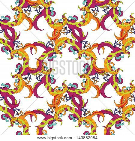 Seamless Pattern Circle Red Fun With A Caribbean Dancing Couple Of Parrots. Vector Illustration