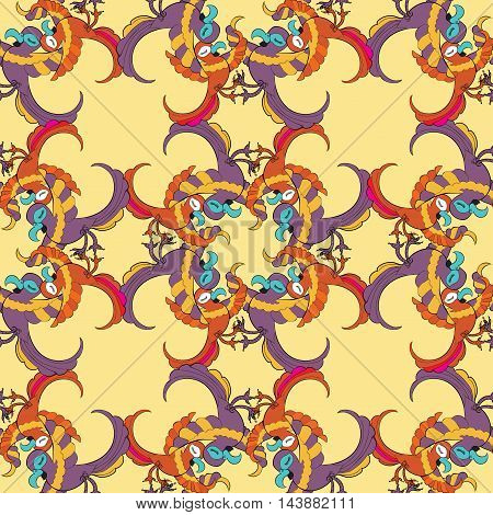 Seamless Pattern Grid With Caribbean Fun Dancing Couple Of Parrots. Vector Illustration