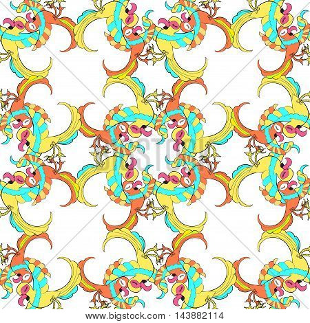 Seamless Pattern Mesh With The Caribbean Gold Fun Dancing Couple Of Parrots. Vector Illustration