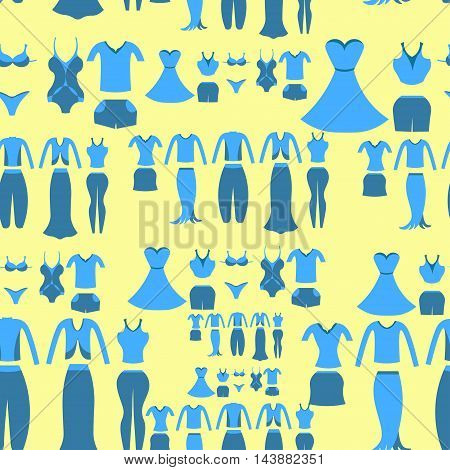 Seamless Pattern With A Blue Clothing Female On A Yellow Background. Vector Illustration