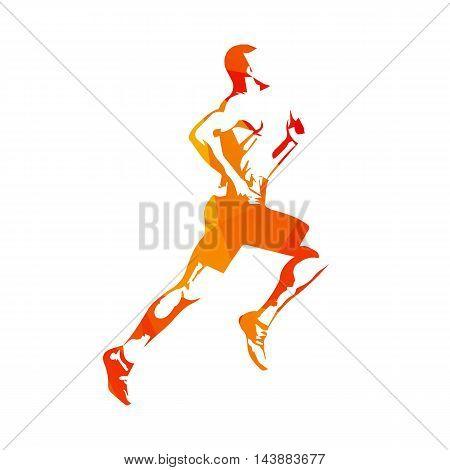 Abstract orange vector runner. Running man vector isolated illustration. Sport athlete run decathlon