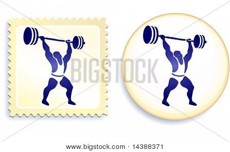 Weightlifter Stamp and Button Original Vector Illustration