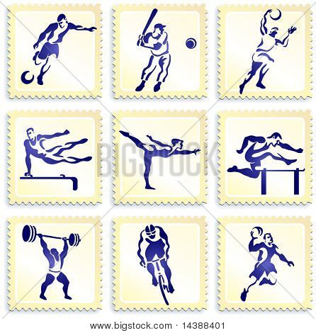 Deportes sello colección Original Vector Illustration