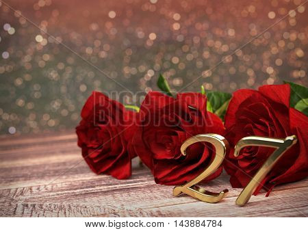 birthday concept with red roses on wooden desk. 3D render - twenty-seventh birthday.27th