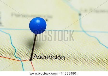 Ascencion pinned on a map of Bolivia