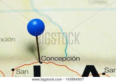 Concepcion pinned on a map of Bolivia
