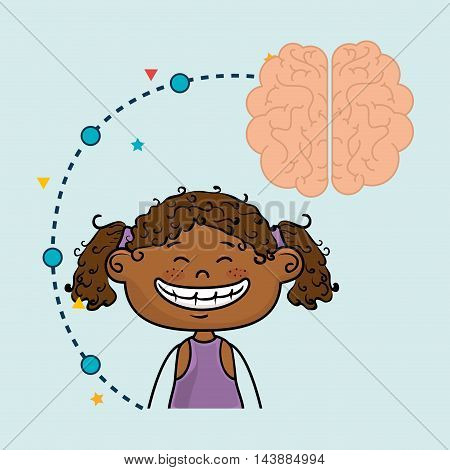 girl cartoon brain idea vector illustration design