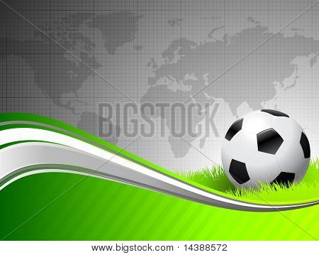 Soccer Ball on abstract green Background with Map Original Vector Illustration AI8 Compatible