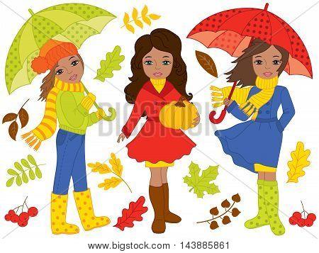 Vector African American autumn girls set with umbrellas and pumpkin