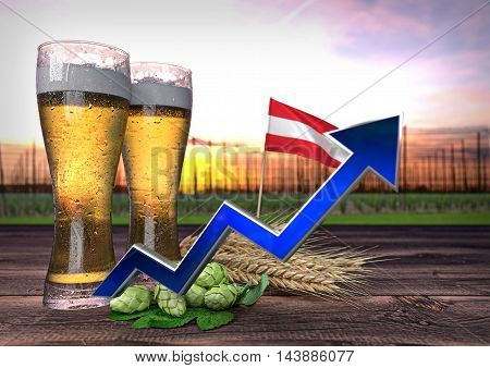 rising beer consumption in Austria - 3D render