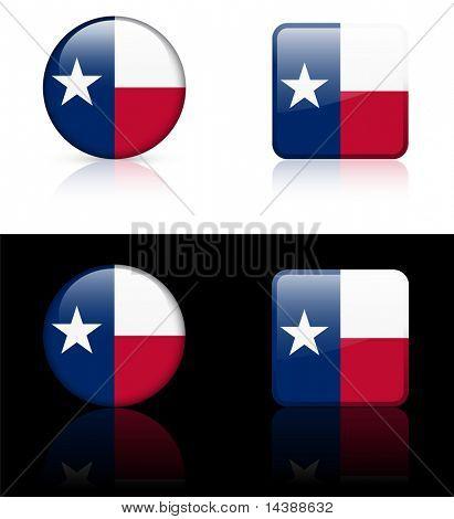 Texas Flag Icon on Internet Button Original Vector Illustration AI8 Compatible
