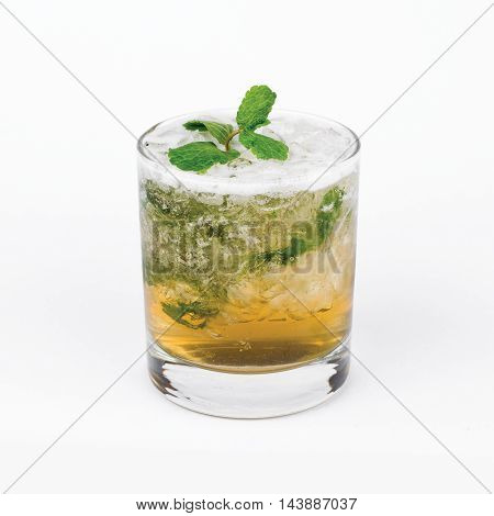 Glass of Russian mint cocktail on white background