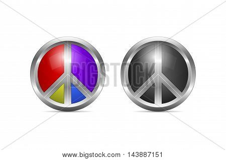 Metallic peace symbol design with color alternative as 3d shaped