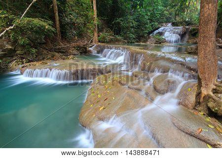 Deep forest waterfall at Kanjanaburi Province Thailand