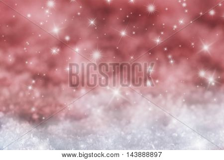 Christmas Texture With Sparkling Stars. Snow With Red Background. Copy Space For Advertisement. Card For Seasons Greetings