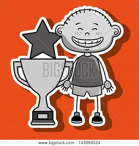 boy trophy star icon vector illustration design