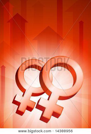 Lesbian Symbols on Red Arrow Background Original Vector Illustration