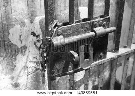 Old lock on prison cell at the Old Melbourne Gaol, Australia