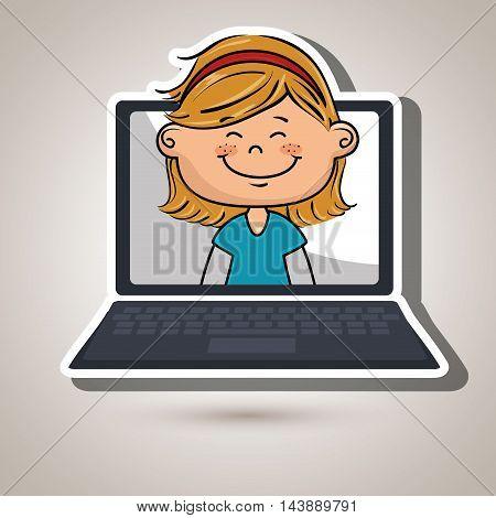 girl laptop student cap vector illustration design