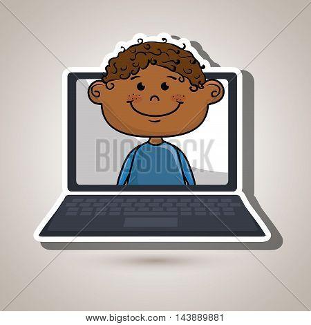 boy laptop student cap vector illustration design