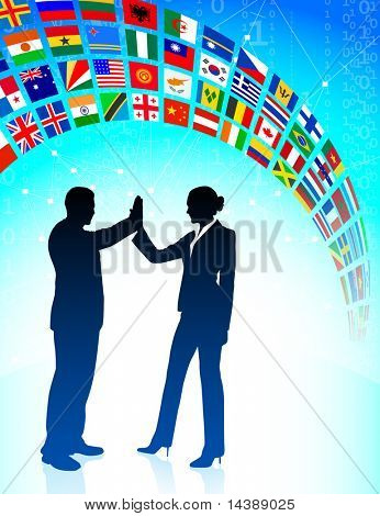Business Team with Flags Banner Original Vector Illustration