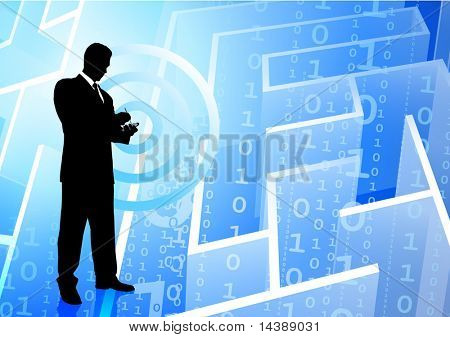 Businessman on Binary Code maze Background Original Vector Illustration