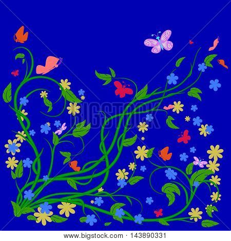 Floral designs happy pattern with butterflies on a blue background.