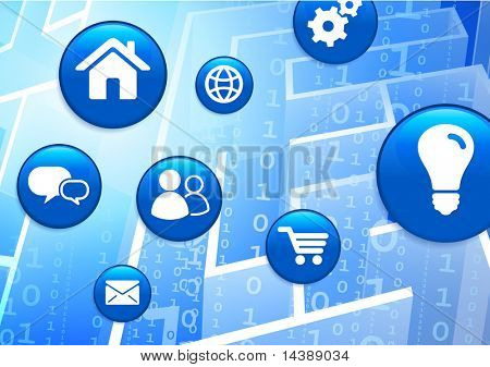 Internet Button Icons on Binary Code Maze Background Original Vector Illustration